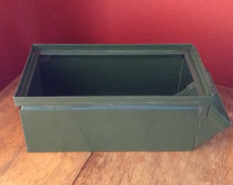 Vintage Green Metal Box Industrial Stacking Bin Stackable Bins Storage Industrial Farmhouse