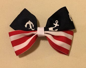 """4"""" Red White and Blue Hair Bow"""