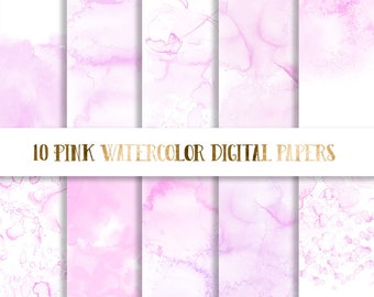 3 FOR 8 Pink Watercolor Digital Paper,  pink watercolor paper, watercolor texture, watercolor background, scrapbooking paper pastel