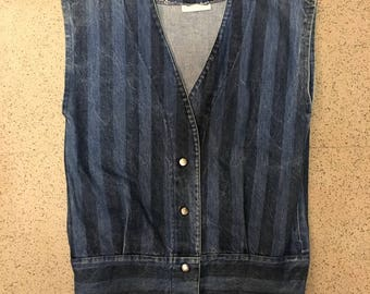 Vintage Striped Denim Vest Boxy Japanese Fit 80s