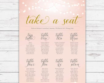 Wedding table plan - Nightglow design, personalised with your details and your guest names
