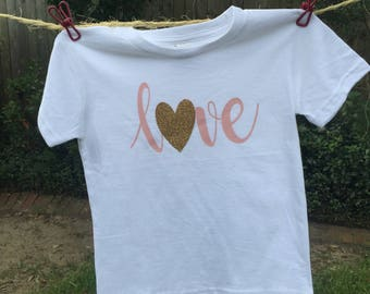 Girls toddler infant blush and gold 'love' shirt
