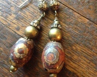 Tibetan agate and brass drop earrings.