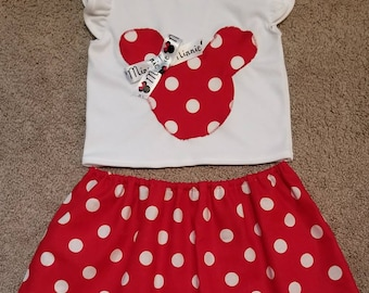 4T Minnie Mouse top and polka dot skirt