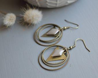 Bronze earrings enamelled grey sequin taupe and metal rings