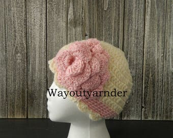 Girls Crochet Flower Hat