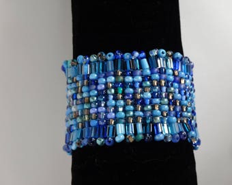 Handwoven blue and silver Czech seed bead loomed bracelet