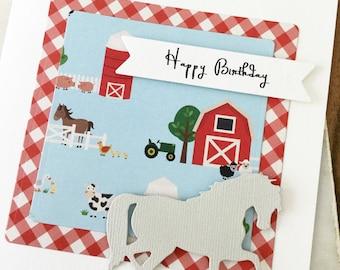 Pony Birthday Card, Farm Birthday Card, Gift for Horse Lover, Horse Birthday Card, Barnyard Birthday Card, Birthday Girl Boy, Happy Birthday