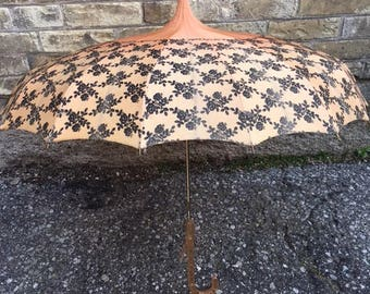 Vintage Romantic Peach Parasol by Polan Katz