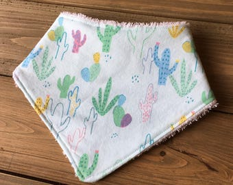 Baby Bandana Bib - No Drama Llama Cactus Print on Mist - Cotton Bandana Bib - Baby Shower Gift - Cactus Bandana Bib