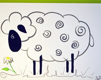 """Sheep poet"" watercolor format postcard 10.5 X 15.5"