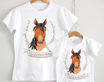 Watercolour Horse personalised T-shirt - baby shower gift, country, farm animal, equestrian baby clothing, birthday T-shirt, pony, baby gift