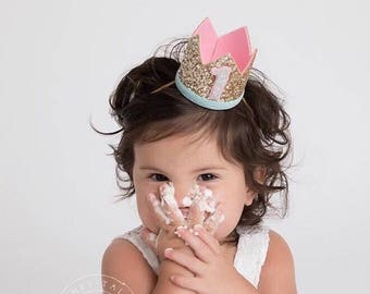 Birthday Crown Of Glitter For Girl | First Birthday Crown | 1st Birthday Crown | Baby Birthday Crown | 1st Girl Birthday Crown | Gold + Pink