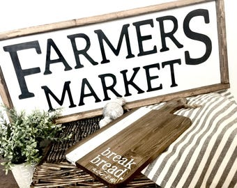 Farmers Market, Farmhouse Wood Sign, Farmhouse Style sign, Rustic Decor, Farm Kitchen Sign, Cow Farmhouse sign, Kitchen, Home Decor,Wall Art