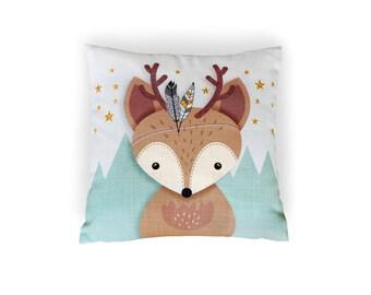 Christmas Pillow, Reindeer pillow, Christmas gift, Woodland nursery pillow, Throw pillow, Cushion cover, Christmas, Deer pillow, Cover
