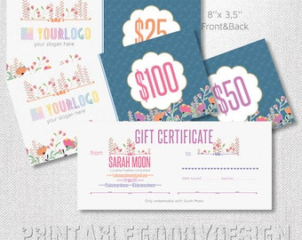 Gift Certificates|front & back | 8 x 3,5 |sheep|Flowers |Free Personalization  | Home Office Approved | DIGITAL PRINTABLE