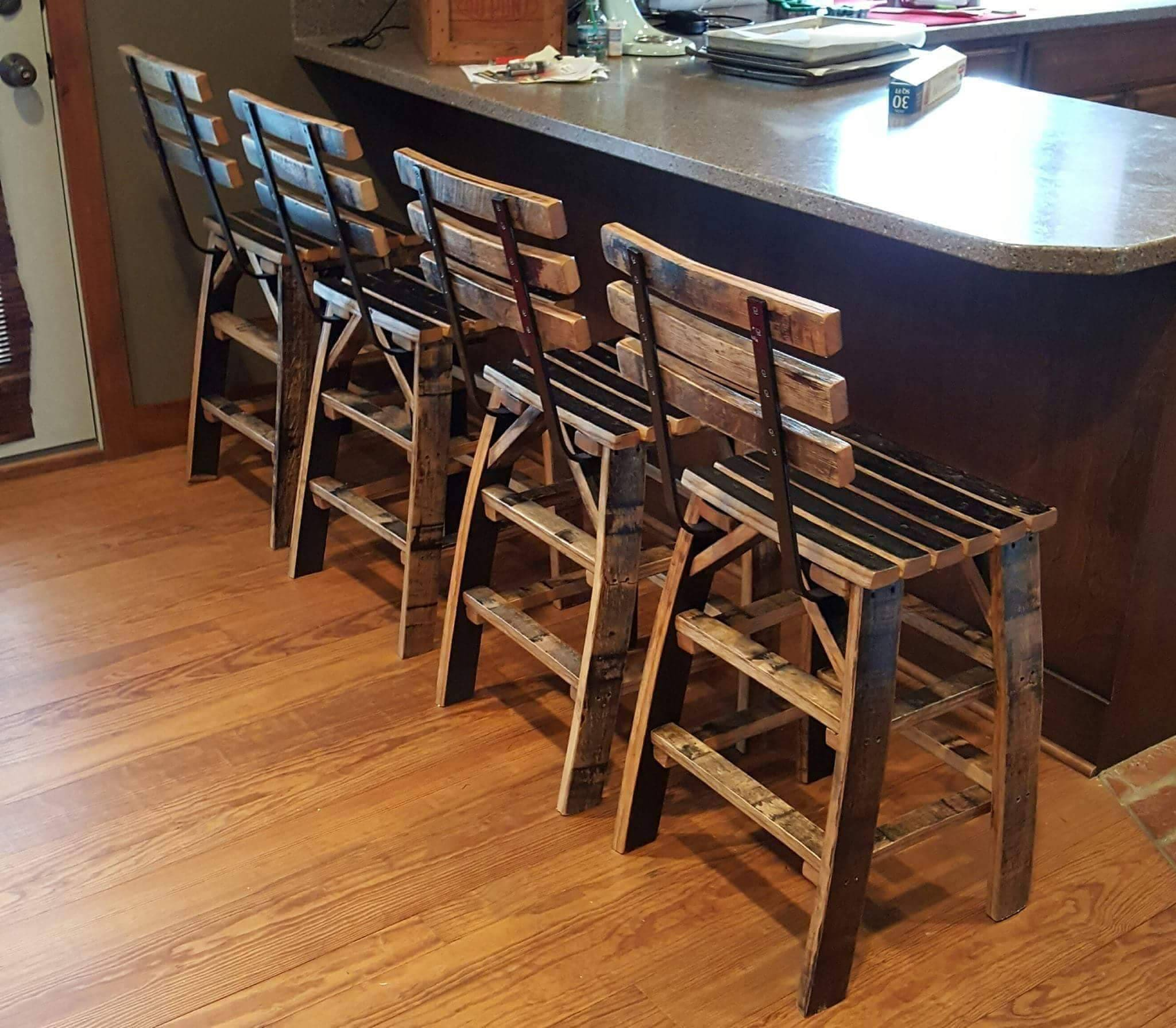 Whiskey Barrel Stave Bar Stools Made Entirely Of Whiskey