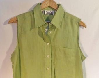 90s linen long button down tank// New dead stock tags// Chartreuse green apple minimalist sleeveless// Vintage Carlie's Court// Women medium