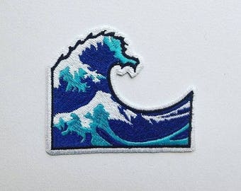 Wave Emoji patch Iron-on/Sew-on, Rayon Patch, Embroidered Patches Applique Embroidery • Surreal Art Trash Punk Rock Hippie Street