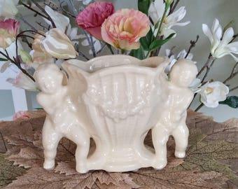 Vintage Cherubs Vase and Candle Holder