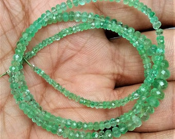 """Natural EMERALD  faceted beads ,1 mm -- 5 mm Approx ,16"""" full strand , 35 ct. [E0428]"""
