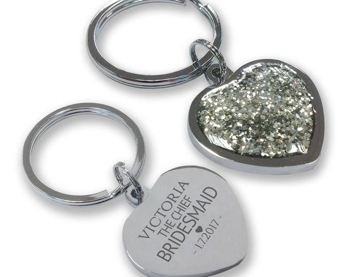 Personalised engraved CHIEF BRIDESMAID wedding keyring gift, glittery bling heart shaped keyring - GHE-W2