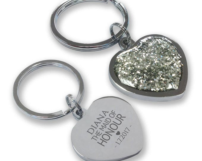 Personalised engraved MAID of HONOUR wedding keyring gift, glittery bling heart shaped keyring - GHE-W3
