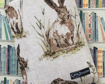 Buddle, small, padded book cover/sleeve (hares)