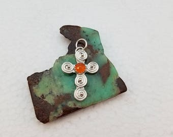 Inspirational handcrafted sterling silver spiral cross pendant with rose cut carnelian cabochon