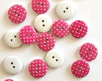 10 pink hearts wooden buttons