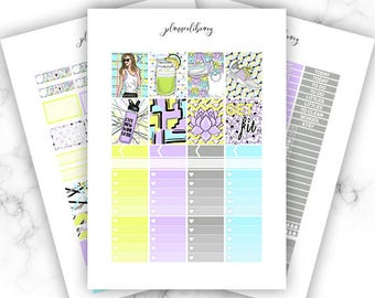 GET FIT Weekly Kit // Printable Planner Stickers / Erin Condren Plum Paper Happy Planner Kikki K Fitness Athletic Neon Summer Spring Fit