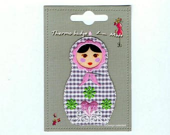 Applique motif patch embroidered iron-on or sew nesting doll Thermocollante