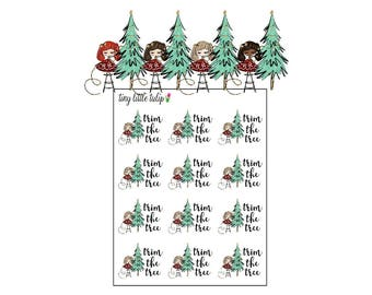 Planner Stickers Christmas Girl Trim the Tree