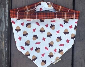 Acorn dog bandana, fall dog bandana, thanksgiving dog bandana, dog bandana, cat bandana, plaid dog bandana, halloween