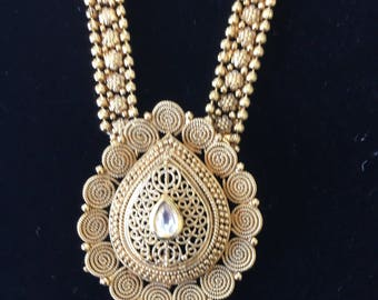Gold plated Rani haar necklace set