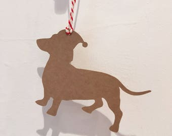 Christmas Hat Dachshund Gift Tag/Christmas - PACK OF FIVE
