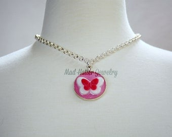 Pink and White Butterfly Necklace