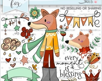 Fox Clipart, Fox Graphics, COMMERCIAL USE, Every Moment is a Blessing, Woodland Clip Art, Clip Art, Hand Drawn Clipart, Animal Graphics