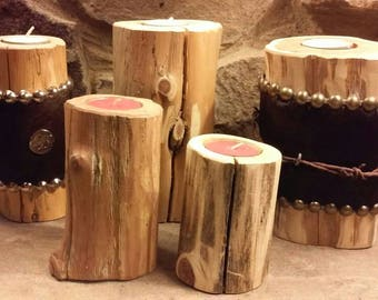 Cedar Candleholders