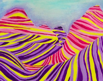 Candy-colored desert | Original acrylic painting | Wall art | Gift idea | Acrylic on paper | Surreal desert landscape
