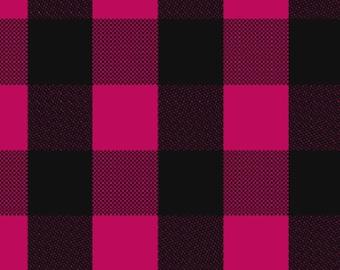 Black and Magenta buffalo plaid Knit