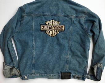 Official Harley Davidson Vintage Jean Jacket with NOS Harley Wings patch on the front. Large, Motorcycle, Biker, Sturgis, USA