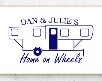"Folding Camper Personalized Home on Wheels Vinyl Decal (6"" x 3.2"") Similar to a Trailmanor"
