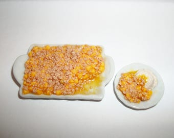 1:6 Play Scale Dollhouse Miniature Handcrafted Peach Cobbler with Slice Dessert Doll Food