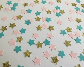 Coral, blue, and gold star confetti (5/8 in size)