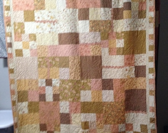 Quilted Lap Quilt Pink & Brown 56 x 73
