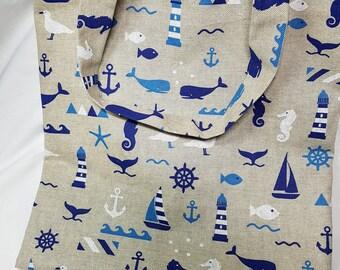 Sea tote bag / / / nautical theme beach bag