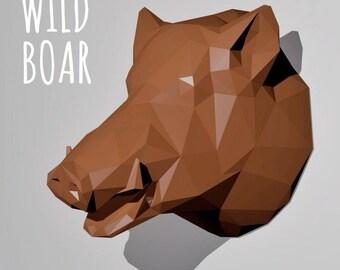 Trophy Wild boar / Papercraft Template / Wall Paper Sculpture / Origami Digital Download /  DIY Paper Sculpture / Faux Taxidermy Wild Boar