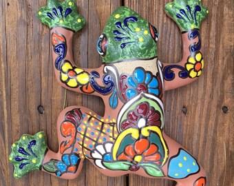 Frog / Wall Frog / Wall Frog / Handpainted Clay Frog / Talavera Style Wall Frog / Rana / Frog Figurines / Garden Frog