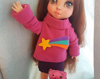 SOLD- OOAK Mabel Pines Doll- Gravity Falls Disney Animator Doll Repaint